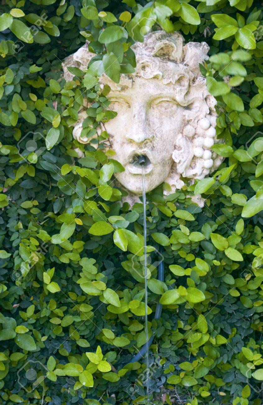 A Greek Garden Wall Fountain Of A God Like Face Sounded By Vines Stock  Photo