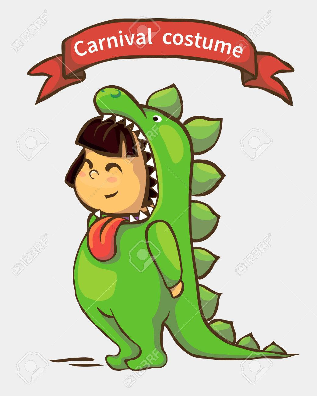 small girl in carnival suit. child in dinosaur costume Stock Vector - 71818870  sc 1 st  123RF.com & Small Girl In Carnival Suit. Child In Dinosaur Costume Royalty Free ...
