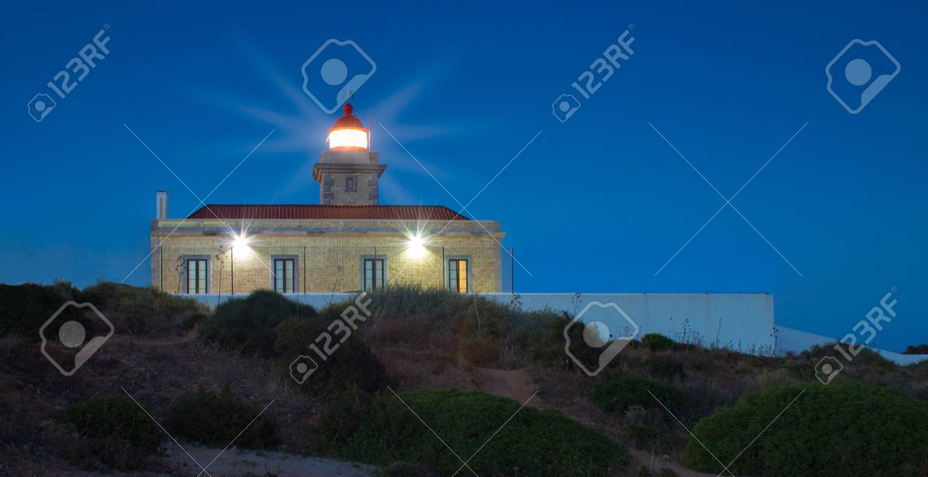 The lighthouse in Lagos, Algarve, Portugal during night  Lights