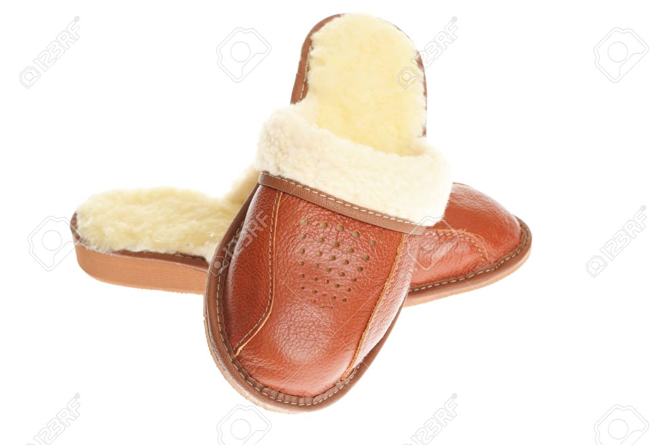 619953edc1c brown wool comfortable slippers - house slipper isolated on white  background Stock Photo - 9807919