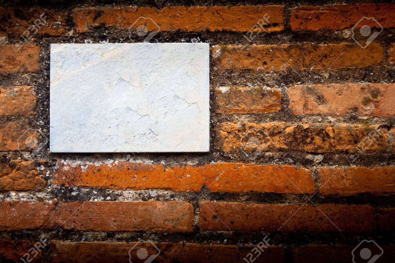 blank gray board on a brick wall Stock Photo - 7391822