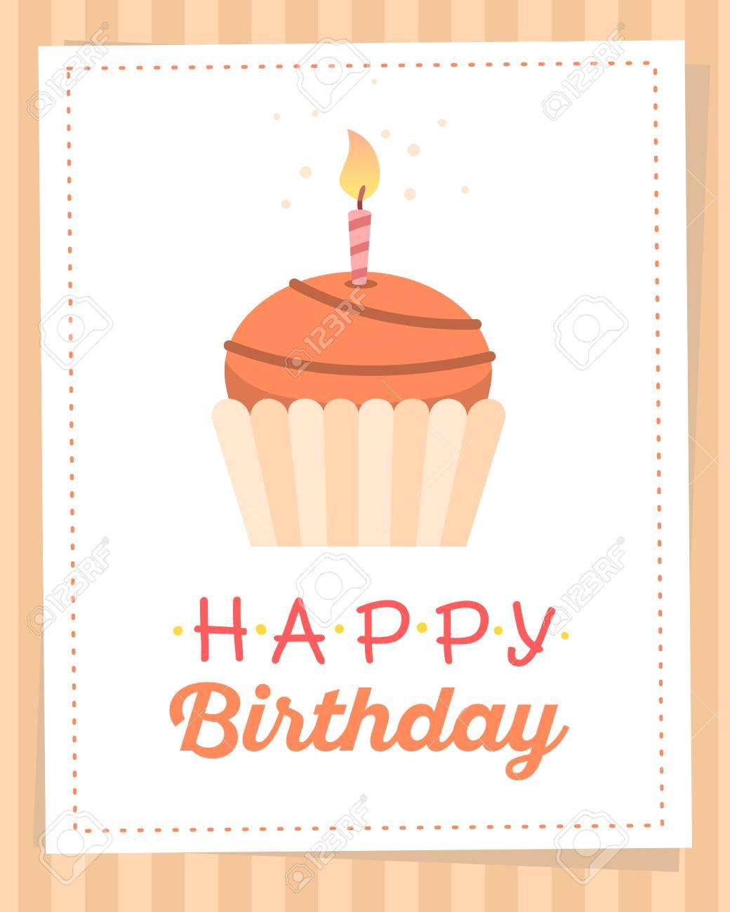 Colorida Ilustración. Cartel De Plantilla De Feliz Cumpleaños Con ...