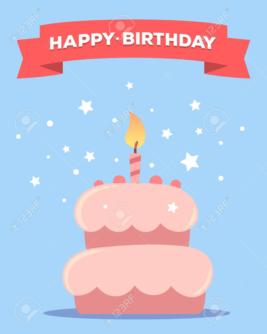 Happy Birthday Template Poster With Pink Cake One Candle Red Ribbon
