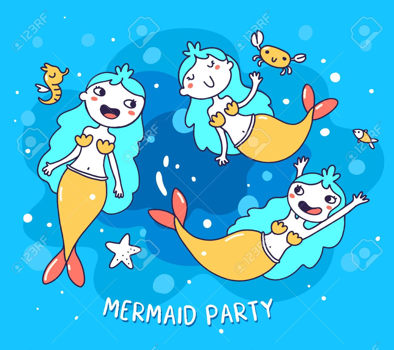 Vector Illustration Of Three Happy Little Mermaid With Sea Horse Royalty Free Cliparts Vectors And Stock Illustration Image 154199196