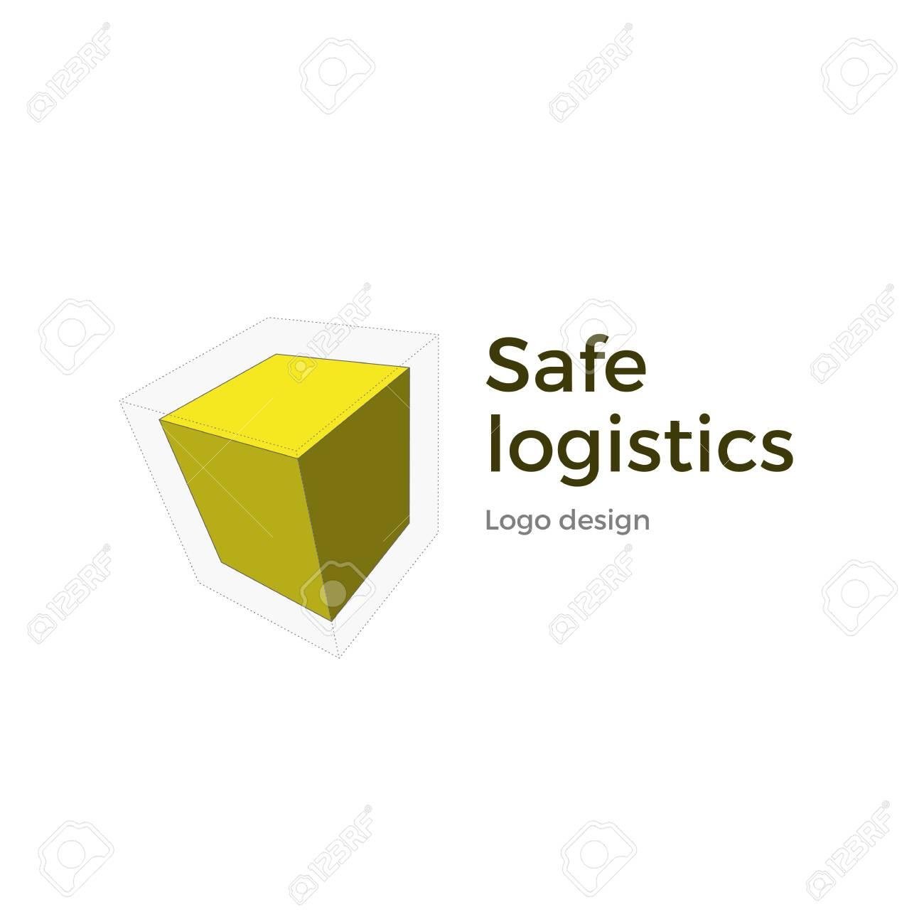 Vector logo design  Isometric cube design concept for logistics