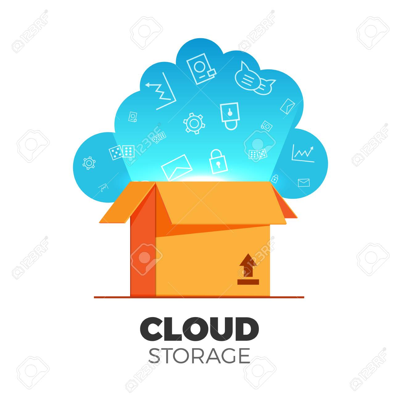 Cloud storage vector illustration in a flat design. Pseudo 3d box with cloud and light  sc 1 st  123RF.com & Cloud Storage Vector Illustration In A Flat Design. Pseudo 3d ...