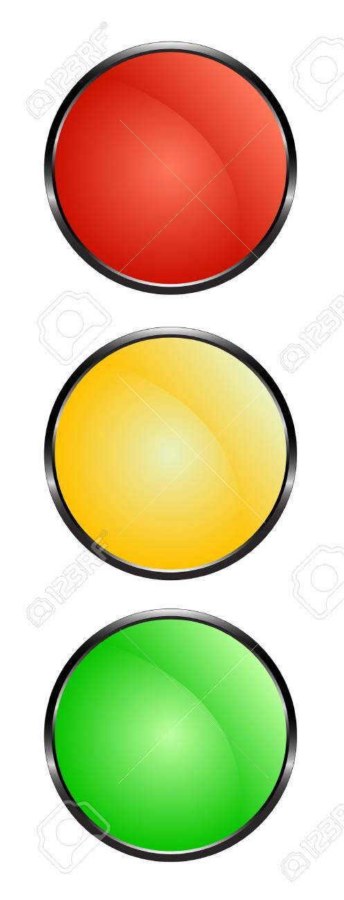 Traffic lights - red, yellow and green Stock Vector - 15063492