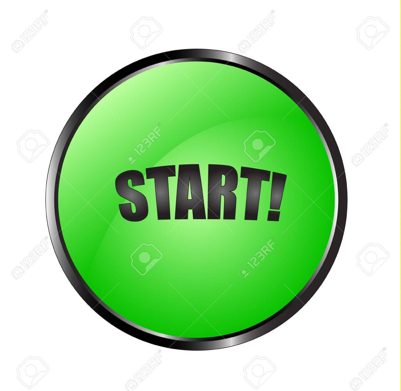 Realistic green button with a black sign start! Stock Vector - 15063490