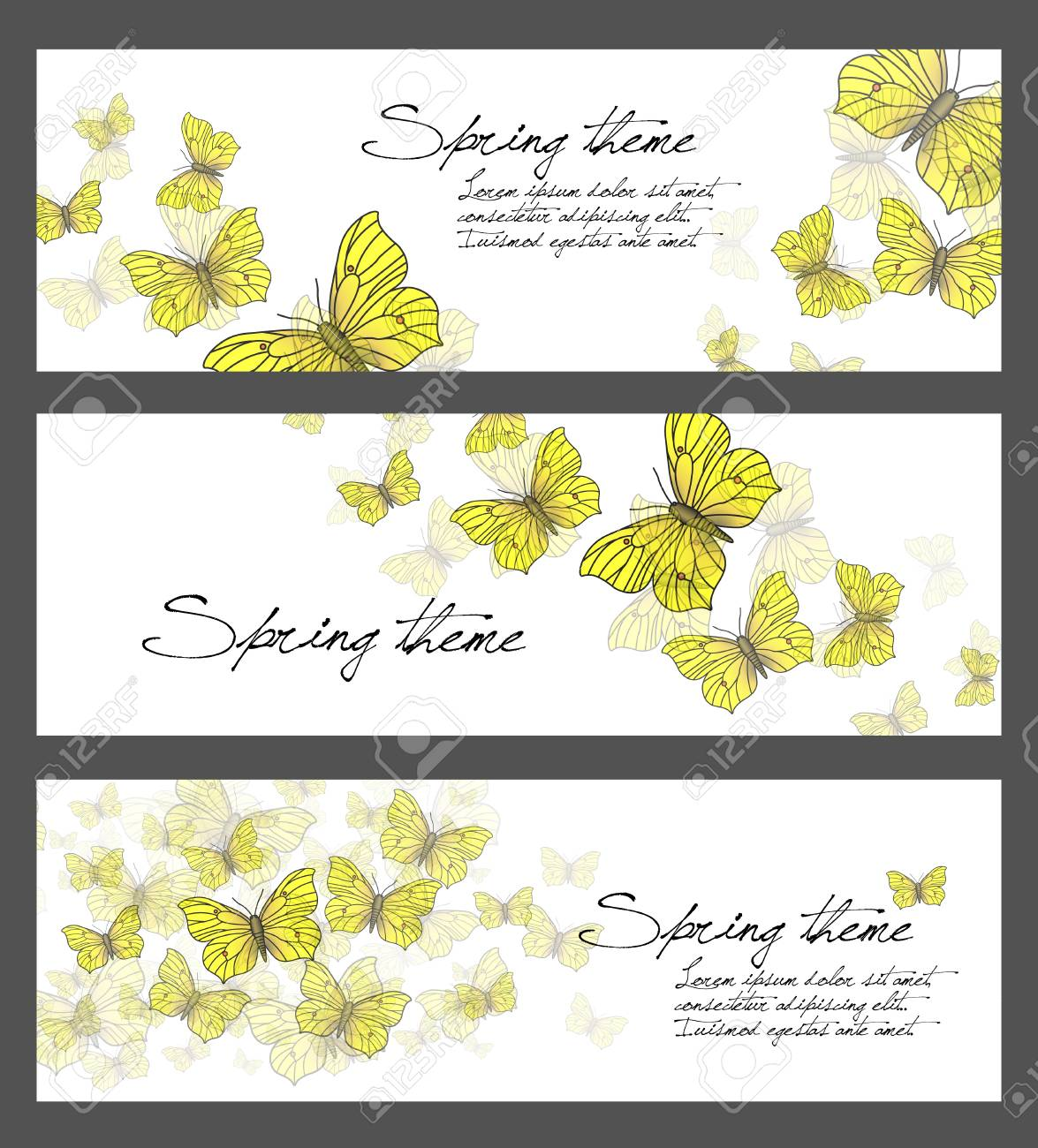 Set of spring illustrations - butterflies Stock Photo - 17590491
