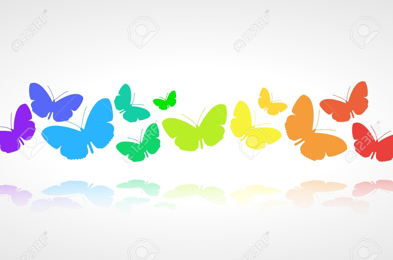 Colorful Butterflies Background On White Royalty Free Cliparts ...
