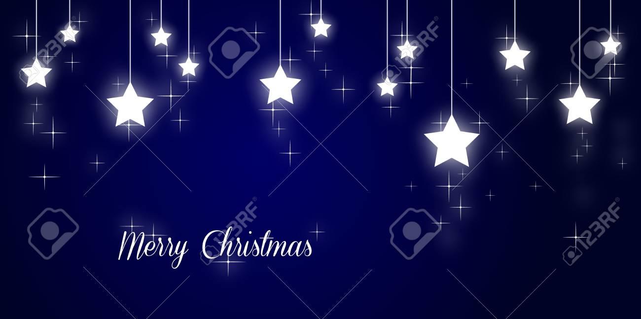 Merry christmas illustration with shining stars on blue background Stock Illustration - 17988915