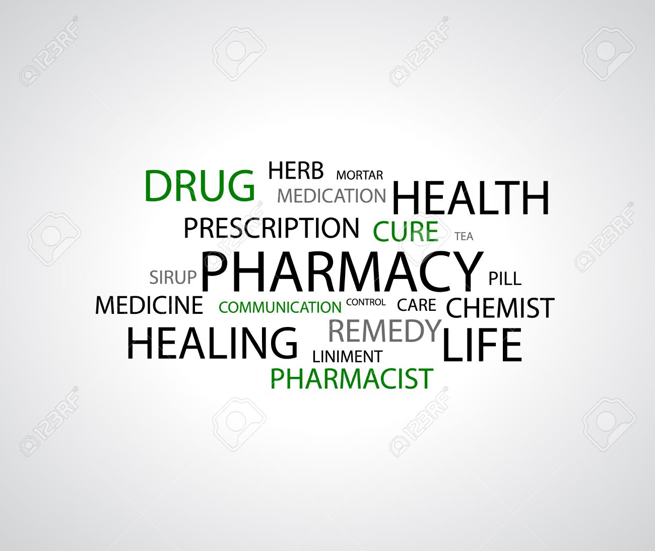 background - pharmacy related words on white Stock Vector - 18227557