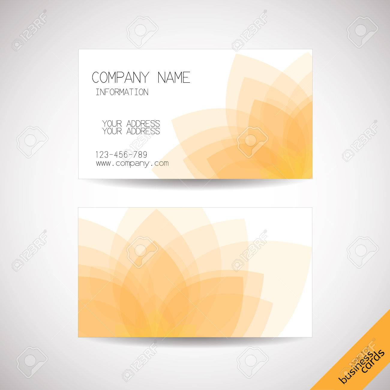 Vector Business Cards With Abstract Lotus Background, Front And ...