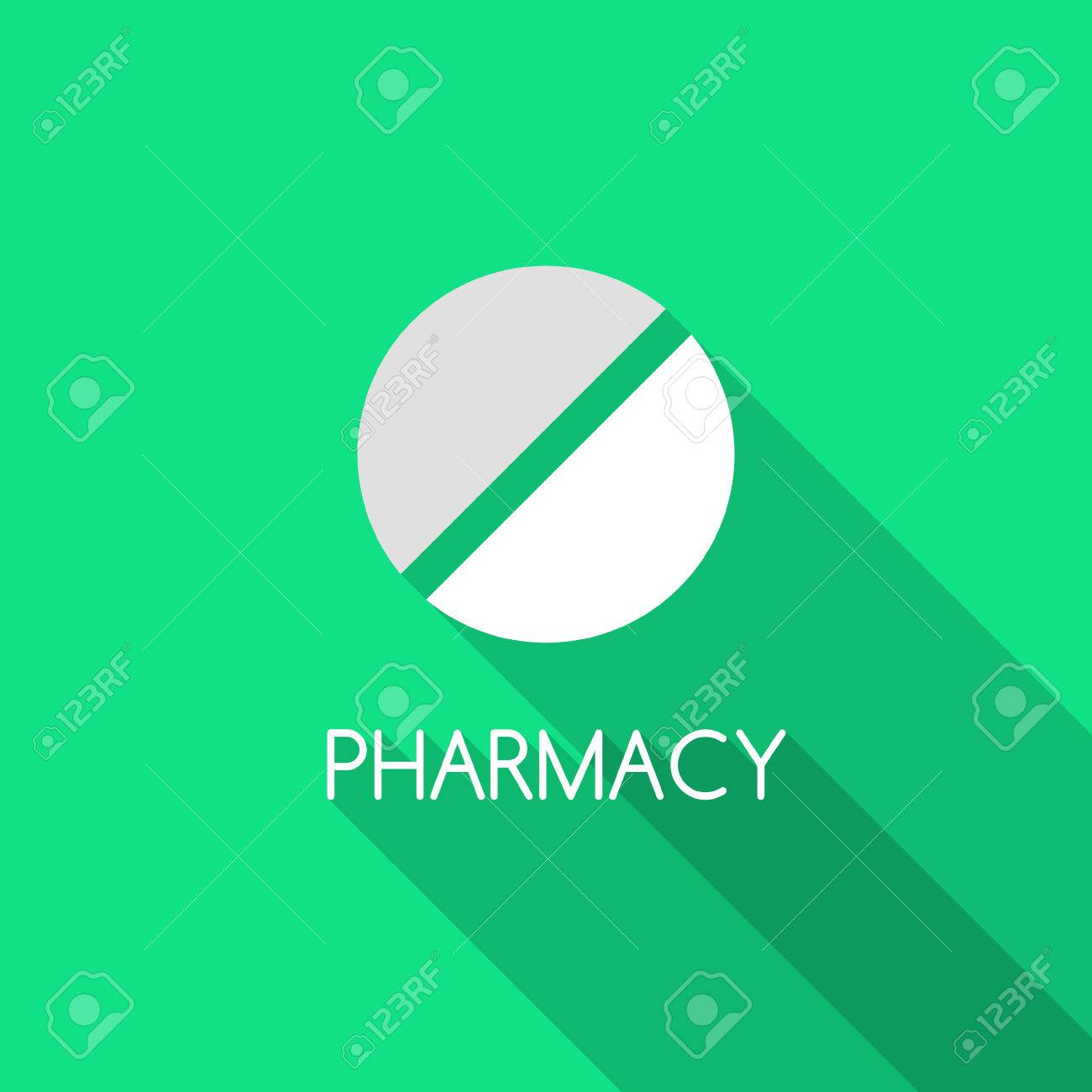 pharmacy design pill on green background and pharmacy text