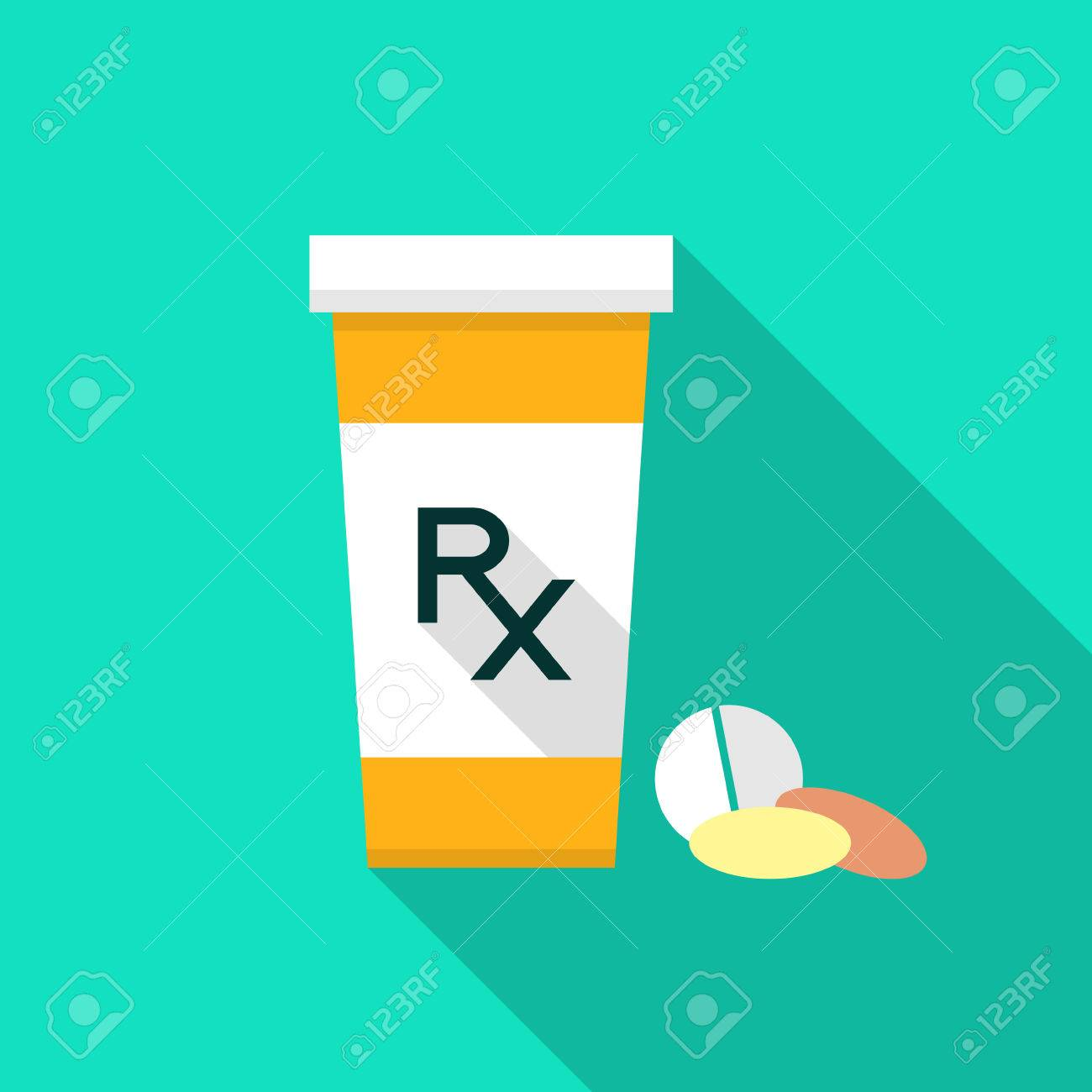 pill bottle with rx sign and pills pharmacy design pill bottle