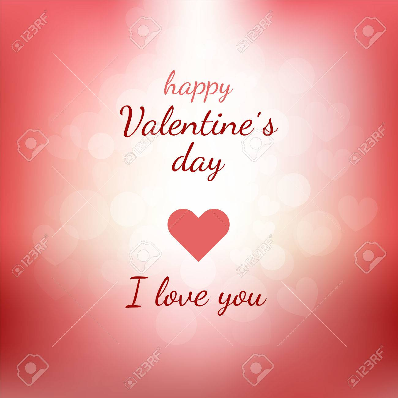 Happy Valentines Day Gift Card With Lettering And Pink And Red