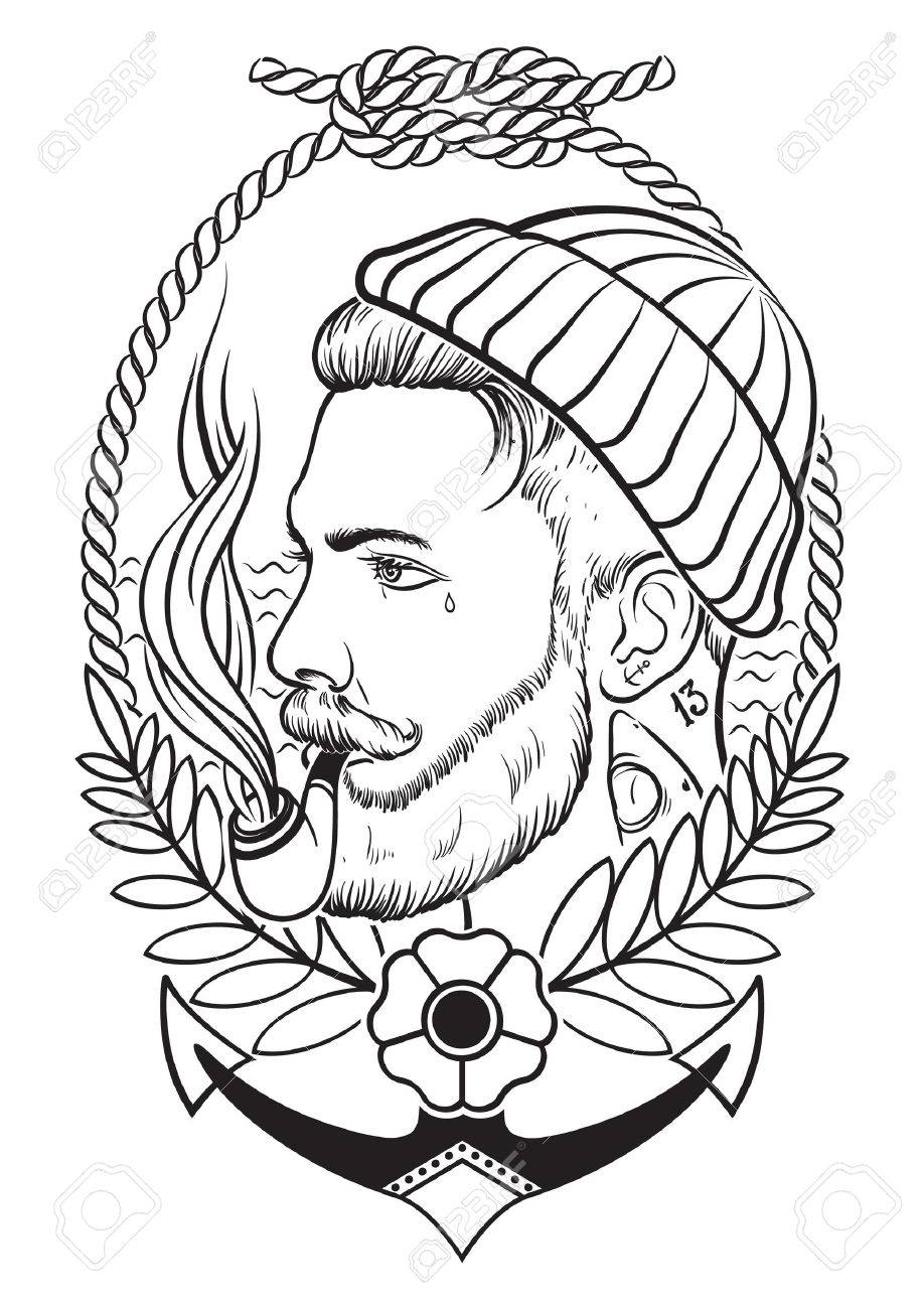 Sailor Beard Drawing Hand Drawn Portrait of Bearded