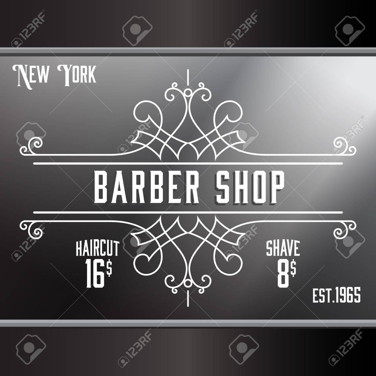 Vintage Barber Shop Window Advertising Design Template. Elegant ...