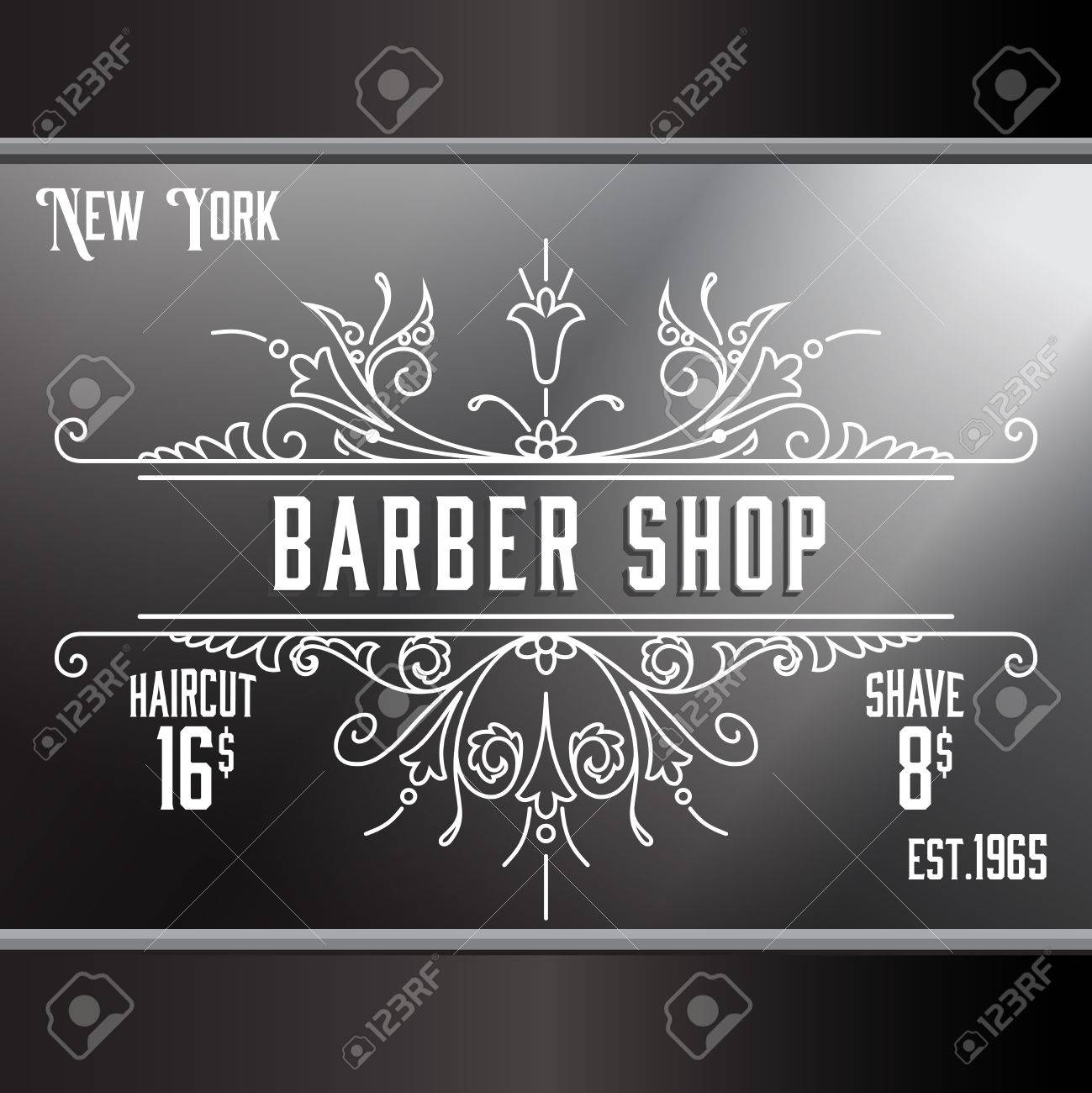 Old barber shop window - Vintage Barber Shop Window Advertising Design Template Elegant Line Art And Flourishes Ornament For Hair