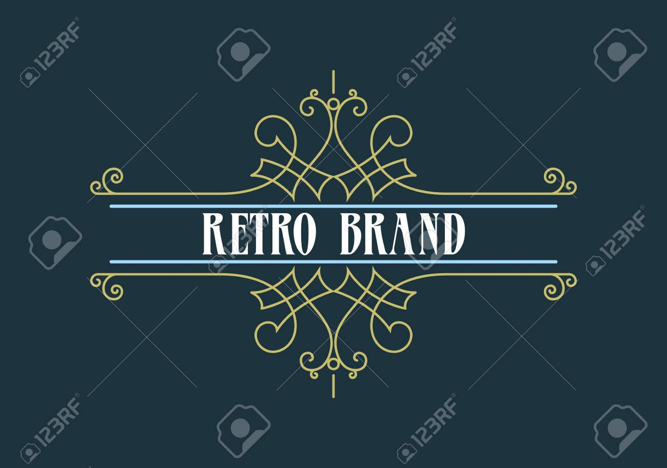 Vintage Label Template. Retro design for Invitations, Posters, Badges, Logotypes and other design. Flourishes calligraphic. - 42318229
