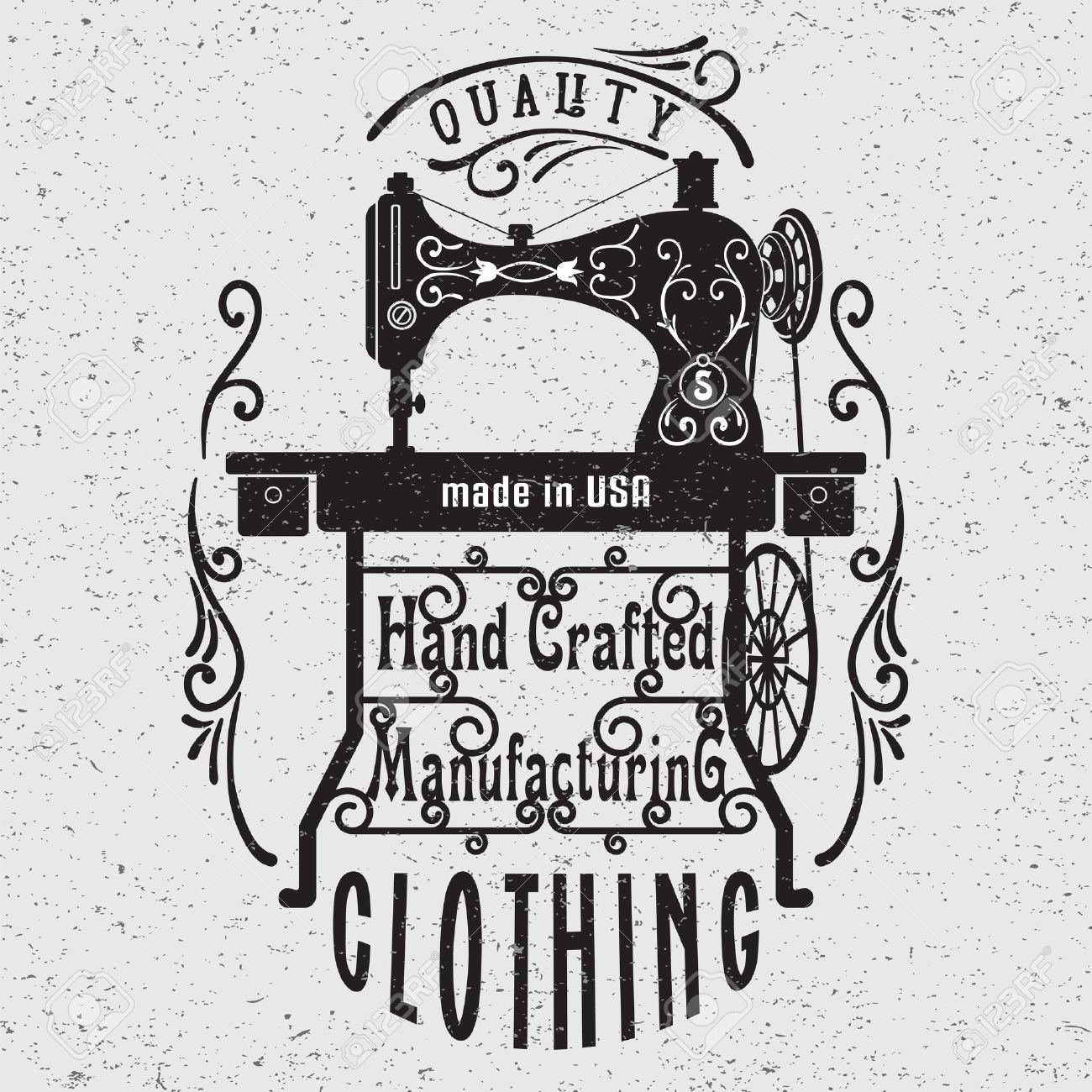 Hand drawn typography poster with vintage sewing machine. For sewing studio logo,T-shirts design or posters. - 47335491