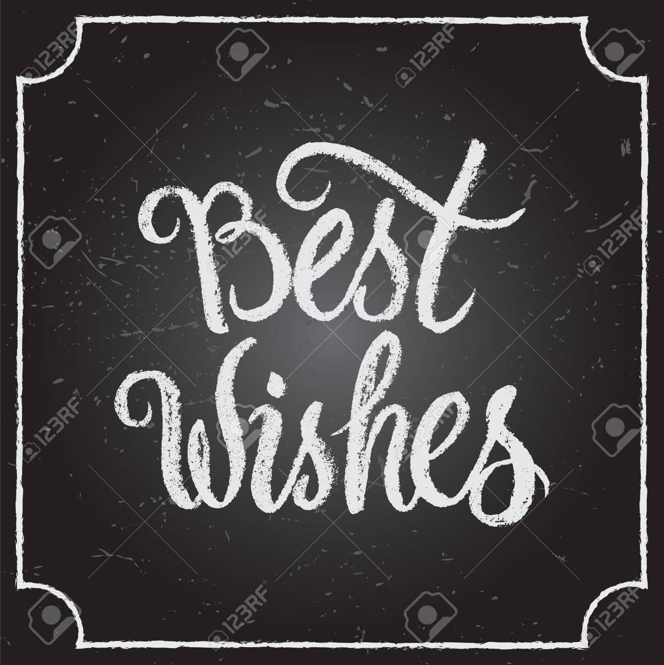 Best Wishes calligraphic and typographic background with chalk word art on blackboard. - 48557134
