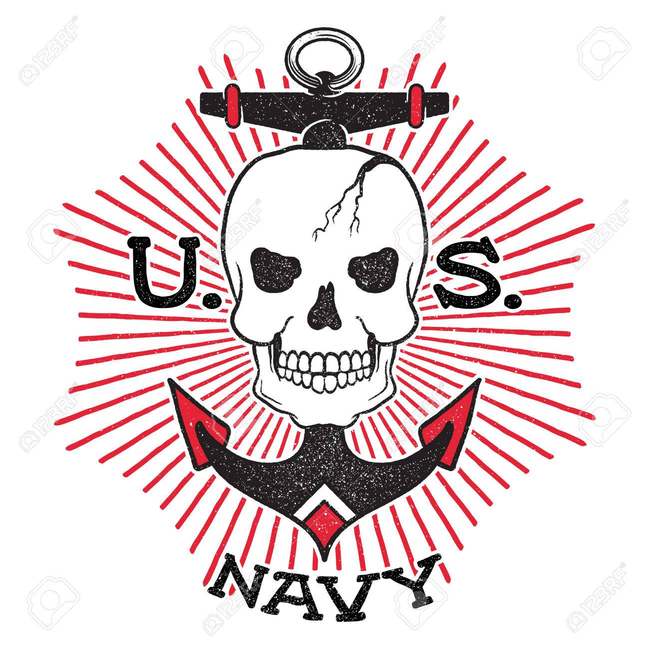 Old school us navy design skull with an anchor on a background old school us navy design skull with an anchor on a background of the sun buycottarizona