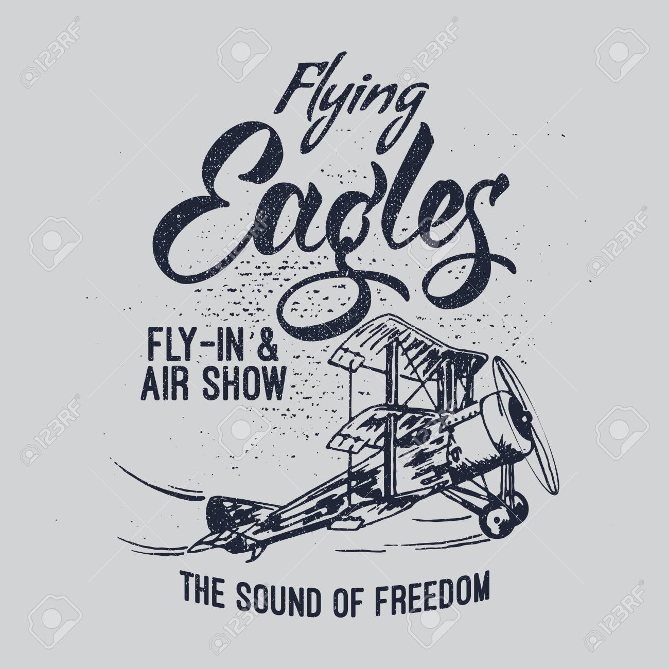 Flying Eagles air show vector illustration. Typography design aerobatic retro airplane. - 96537083