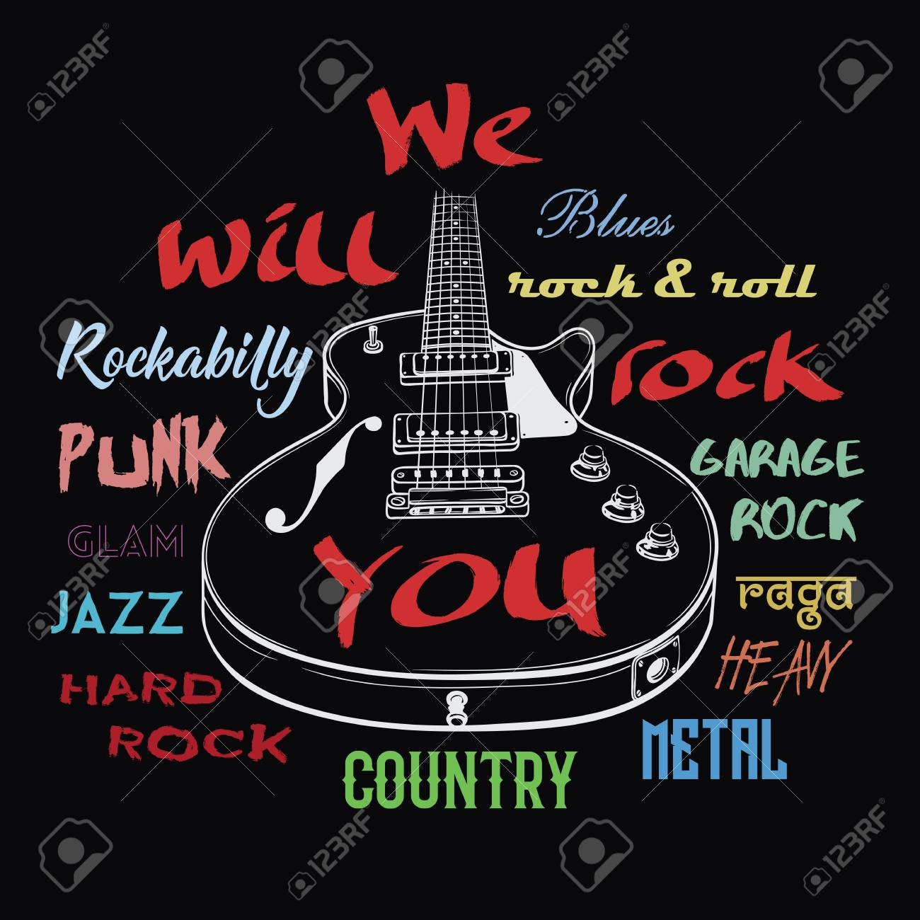 Electric guitar hand drawn illustration. We Will Rock You sign. Rock music typography, tee shirt graphic,art poster. - 99669899