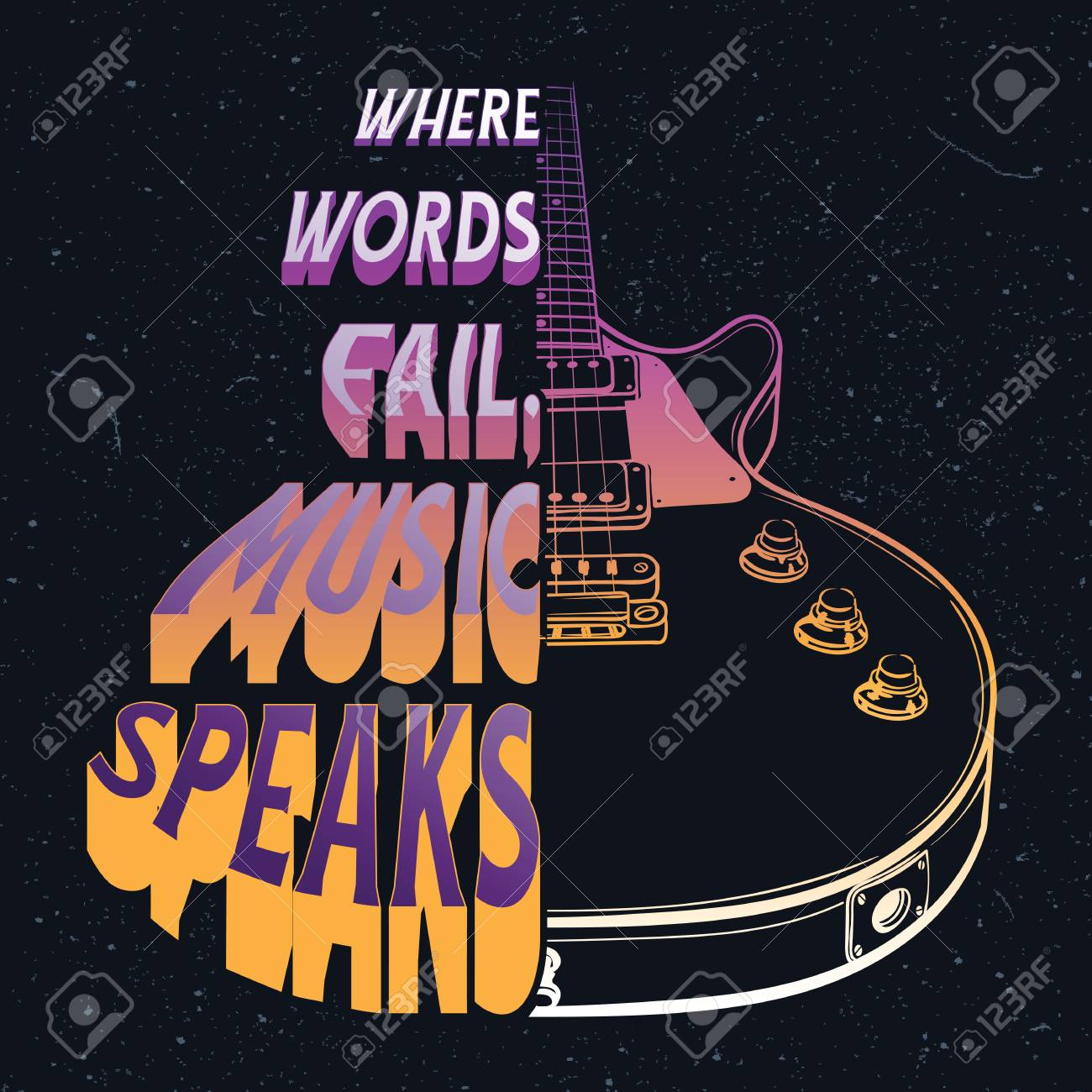 Hand drawn illustration with a electric guitar and quote. Where..