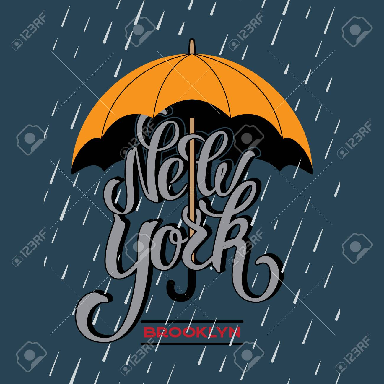 New York brush lettering design under a yellow umbrella protecting from rain drop. - 128474943