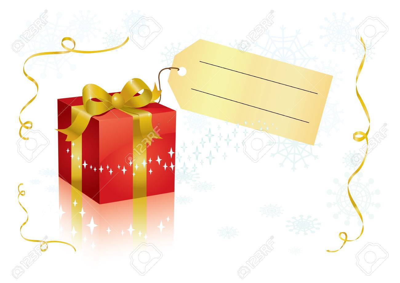 present box with tag for your text. - 5857735