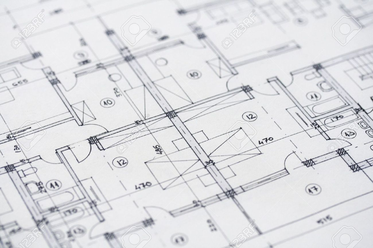 Close Up Shot Of Some Architectural Plans Stock Photo 5989770