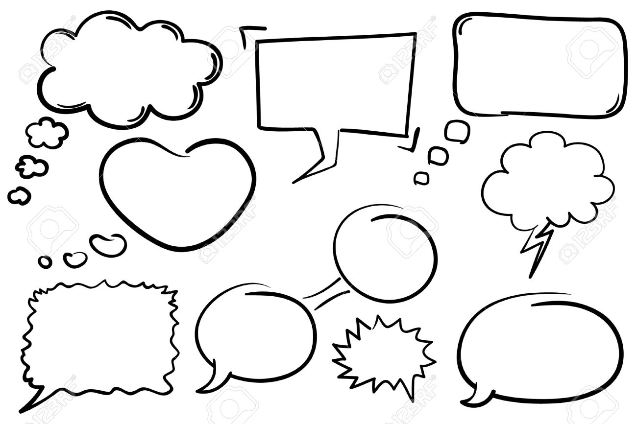Collection of hand drawn comic book style chat bubbles. Stock Vector - 7082022