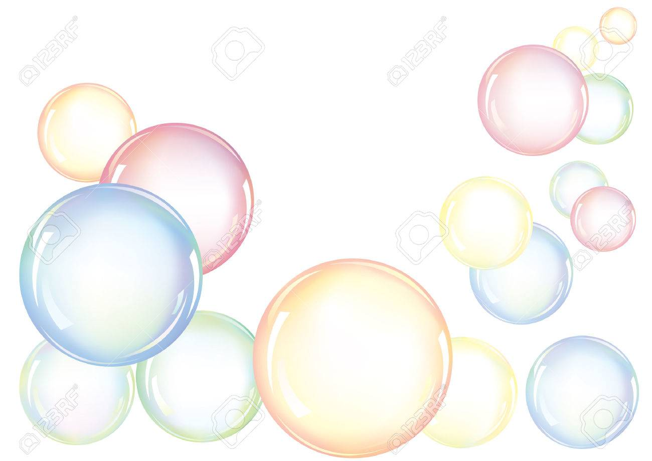 An arrangement of colorful soap bubbles floating in the air Stock Vector - 7129756