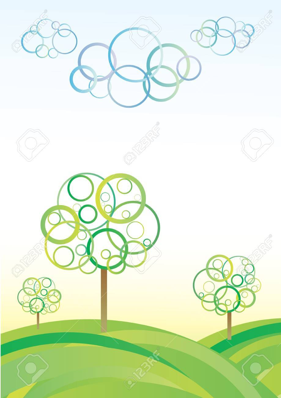 Cute abstract meadow background with circle trees and clouds Stock Vector - 7232049