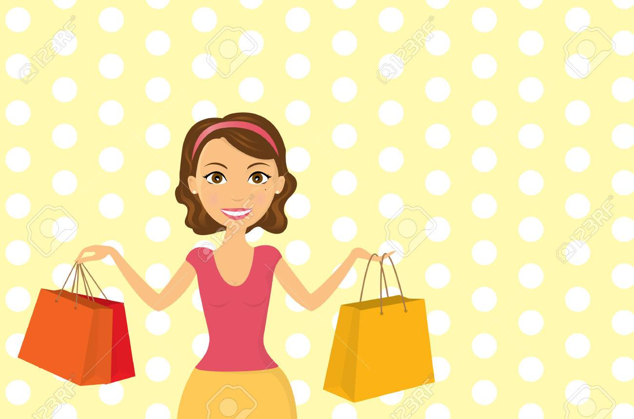 illustration a young woman happily shopping - 7319404