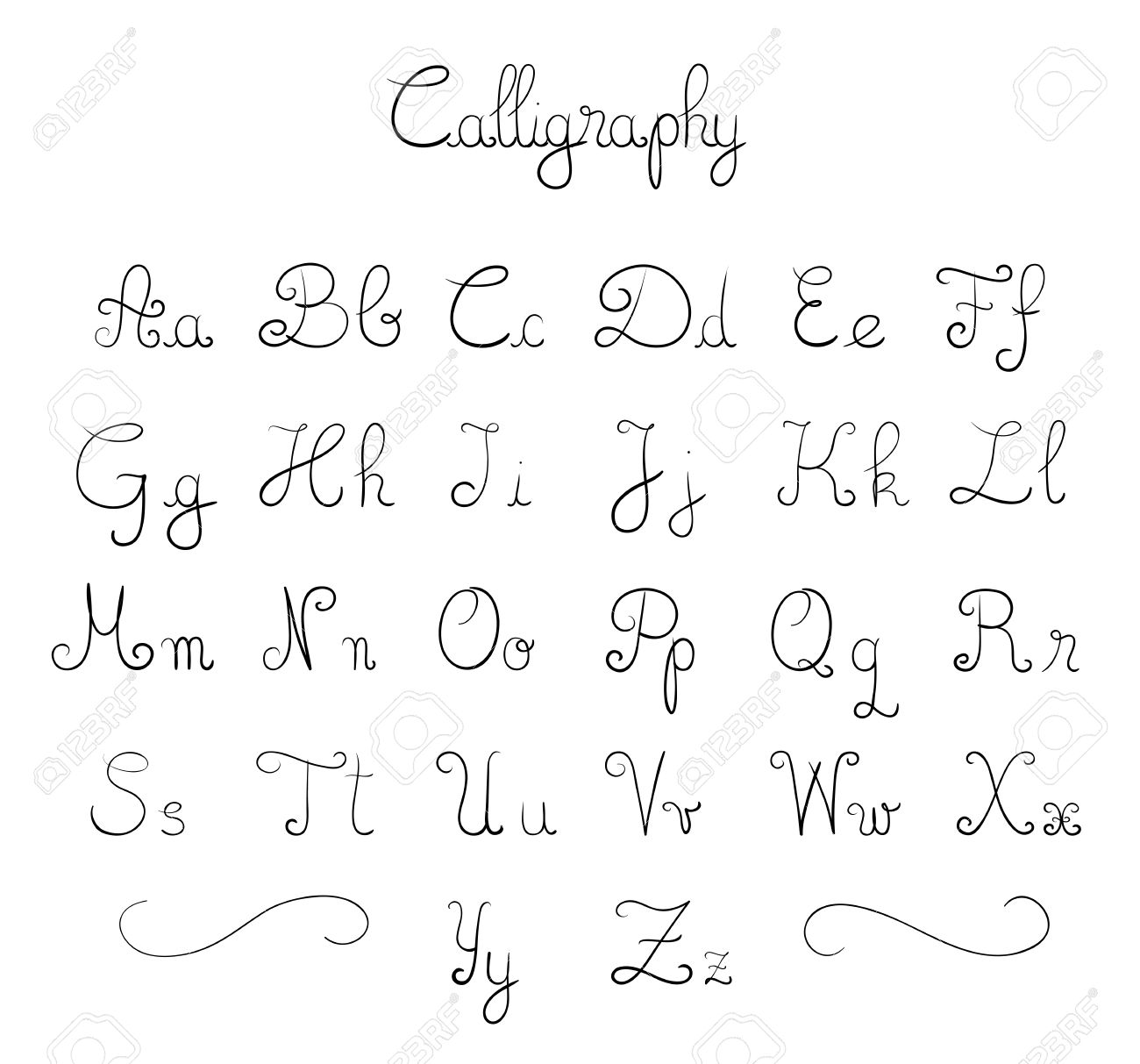 Hand Drawn Calligraphic Font Royalty Free Cliparts, Vectors, And ...