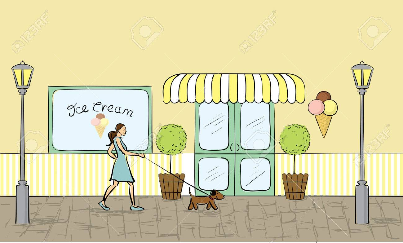 Ice cream store front view - 7412261