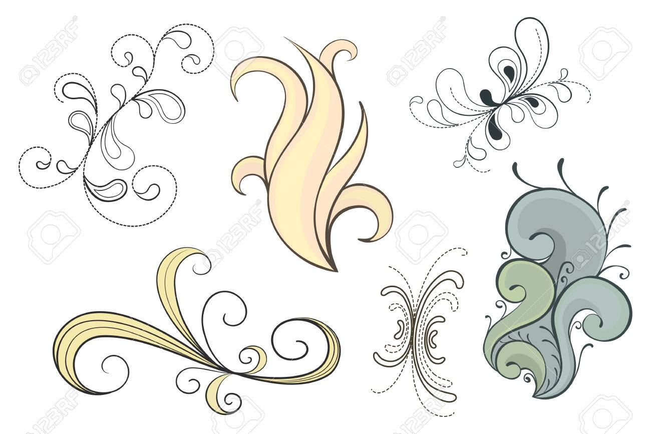 Set of decorative swirls in a variety of styles - 7450905