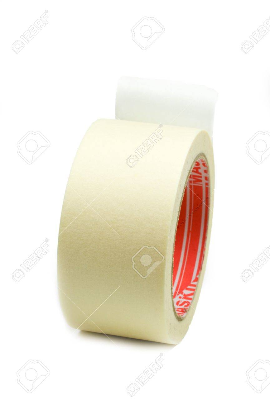 Paper tape roll isolated on white - 7554383