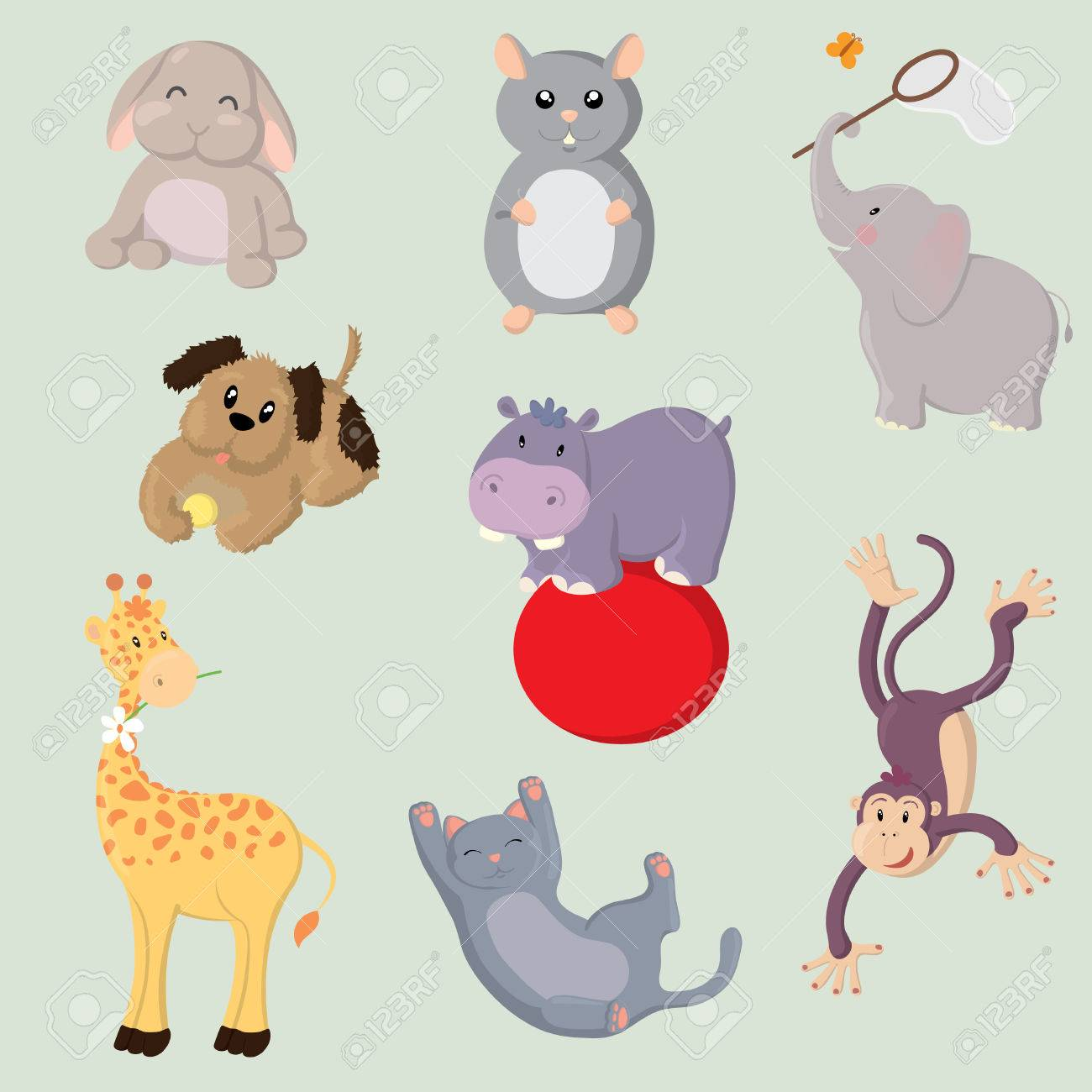 Collection of cute vector animals - 9043547