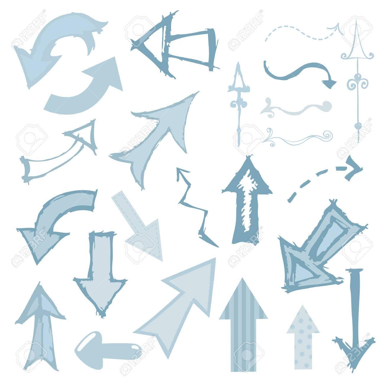 Artsy set of arrows in a sketchy style. - 9043545