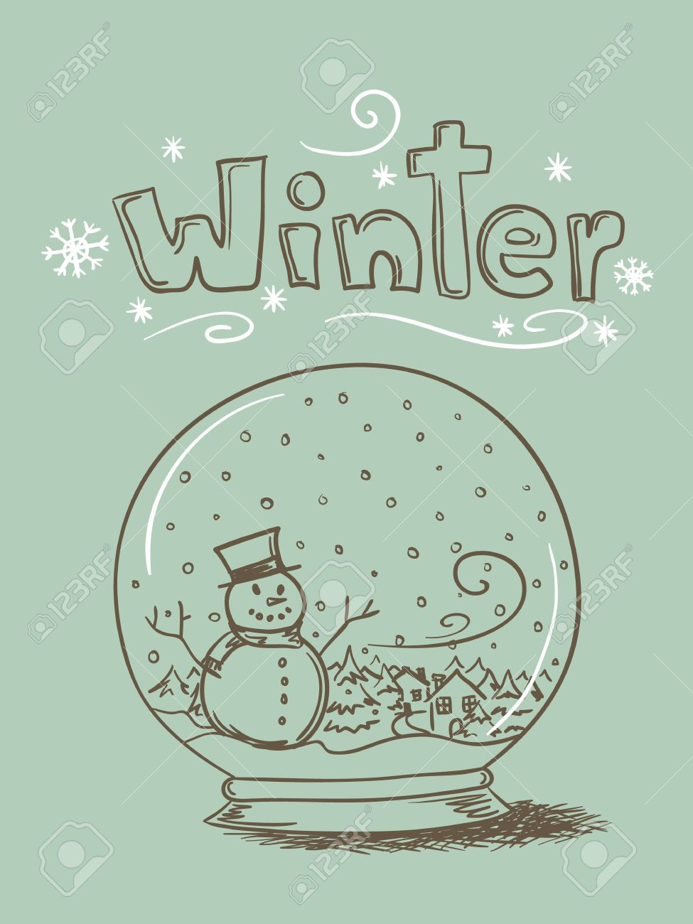 Hand drawn snow globe with snowman and trees and - 11276996