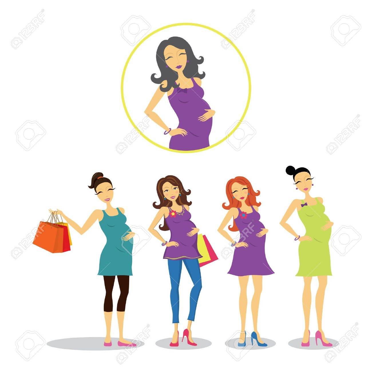 Pregnant women in different styles. Stock Vector - 11276998