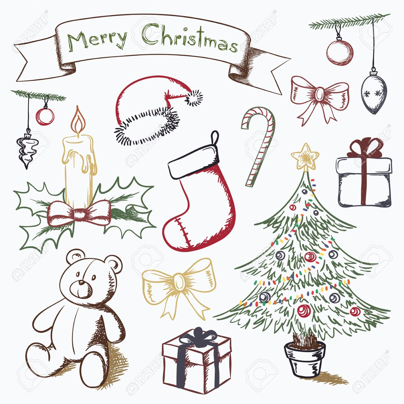 christmas themed set of vector drawings royalty free cliparts