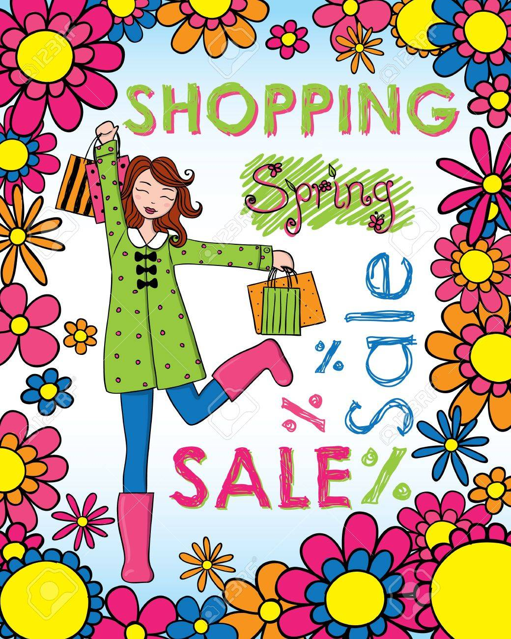 Cute woman with shopping bags wearing spring clothing. - 12498019