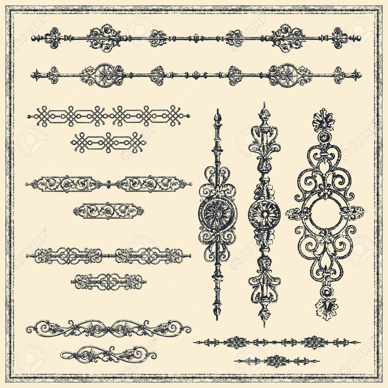Set of vector vintage-style design elements. - 15647937