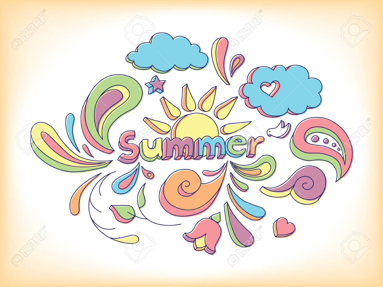 Hand drawn sketch style doodle vector illustration with summer elements. - 20870452