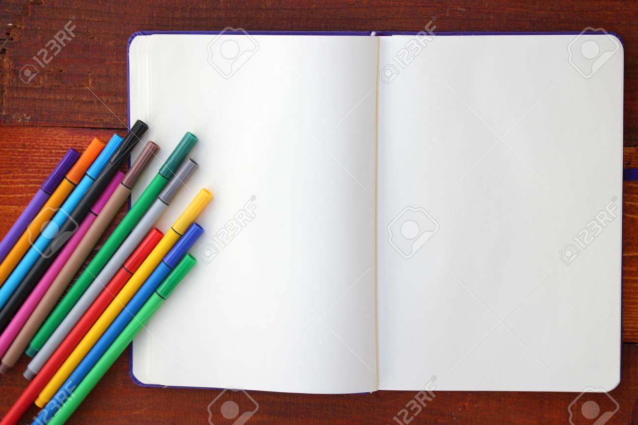 Blank Notebook and Colorful Pencils - 43815940